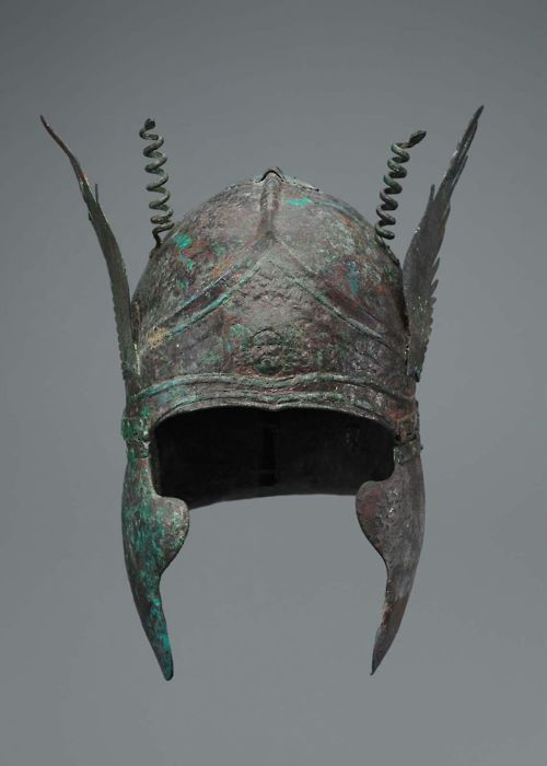 South Italian-Chalcidian helmet with volutes over the temples - Greek, South Italian, Early Hellenistic Period, about late 4th century B.C.  Museum of Fine Arts-Boston.