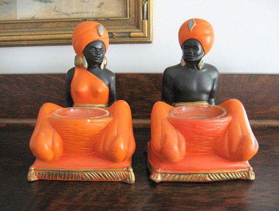 1960s Blackamoor Chalkware Male & Female Statues/ by ToysnSuch, $95.00