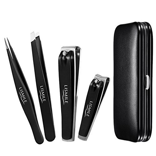 Lismile Tweezers  Nail Clippers Set w Leather Gift Case Stainless Steel Precision Slant  Point Tip Tweezers for Eyebrow Splinter Fingernail  Toenail Clippers for in Growth and Thick Nails -- Read more  at the image link.