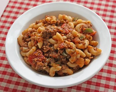 "FoodBasics101: Recipe for Goulash with Ground Beef Seems similar to my recipe minus the chili powder and my recipe calls for oregano and basil.  I'll have to try this one for a twist on my ""vintage"" recipe."