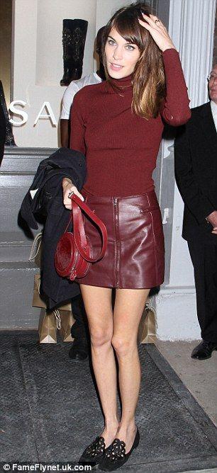 TV presenter and model Alexa Chung wearing a hot skirt