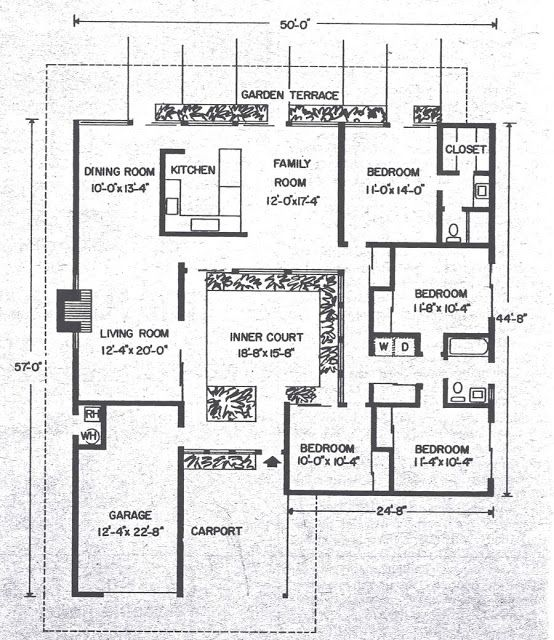 26 best eichler floor plans images on pinterest for Eichler house plans