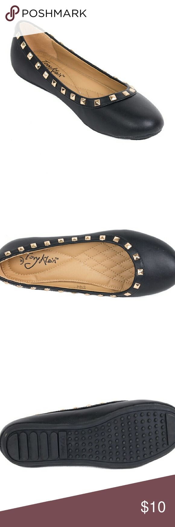 NiB Tory K Studded Ballerina Flats b1616 blk 10 Soft and smooth black flats with shiny studs around the ankle line. Brand new. Soft cushioned sole, very comfortable. Selling super cheap because the box they were in was damaged, but the flats are in perfect condition! Tory K Shoes Flats & Loafers