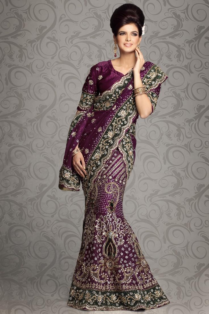 Byzantium Purple Velvet and Embroidered Lehenga Choli