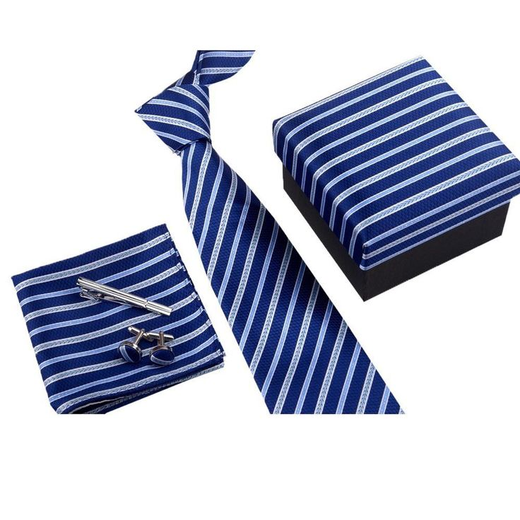 Formal Neck Ties Clips Pocket Square and Cufflinks Gift Set for Business Men #Ysiop #Set