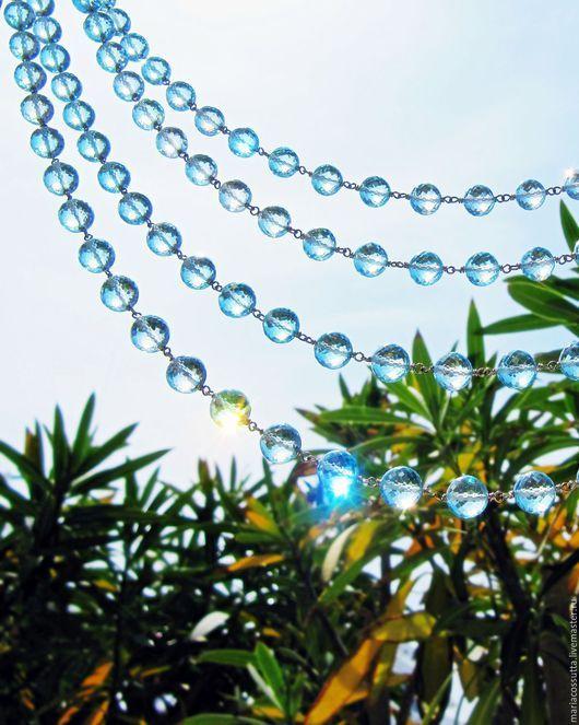 Колье, бусы ручной работы. Ярмарка Мастеров - ручная работа. Купить Ожерелье из натуральных камней, голубой топаз длинные бусы золото. Handmade.