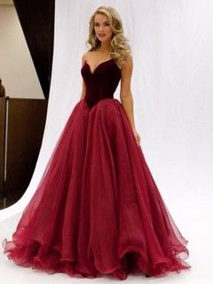 shop Princess V-neck Burgundy Organza Floor-length Ruffles Famous Prom Dresses Ireland at jecicadress.com