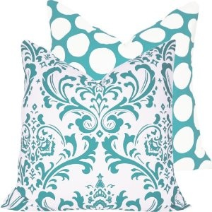 Turquoise Mist Collection - Decorative Throw Pillow Cover - Damask and Polka Dots - White and Blue Hues - 1 Pillow Cover, 2 LooksPillows Covers, Polka Dots, Turquoise, Decor Throw, Blue Hues, Pillow Covers, Decorative Throw Pillows, Mists Collection, Pillows Colors