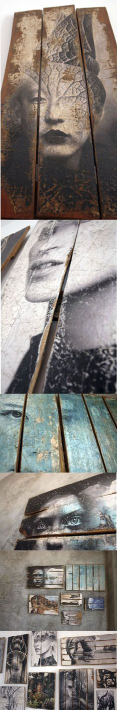 "Antonio Mora Artworks, printed paper over wood planks, (detail) info pil4r@routetoart.comrel=""nofo...> Image transfer cocepts ~ Love"