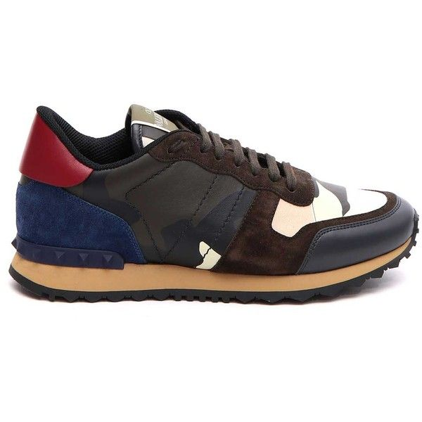 Valentino Garavani Unfinished Rockrunner Sneaker ($485) ❤ liked on Polyvore featuring shoes, sneakers, valentino shoes, valentino trainers and valentino sneakers