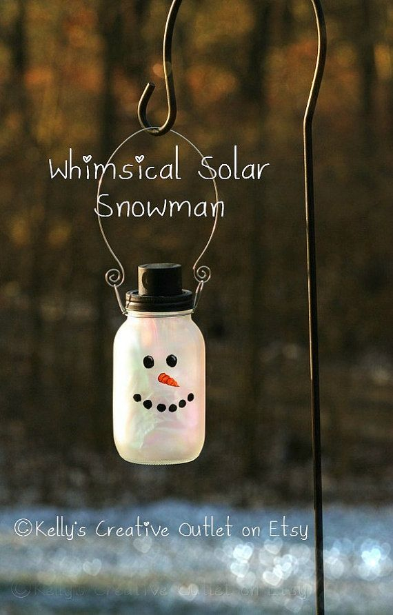 Snowman Mason Jar which is also a Solar jar by KellysCreativeOutlet,  How cute would this be hanging outside your window all winter long??  Perfect Christmas present!