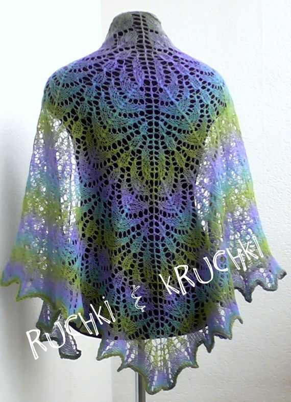 """Handmade knitted lace triangle shawl """" Lilac fairy"""" in violet, blue and green 100% sheep wool"""