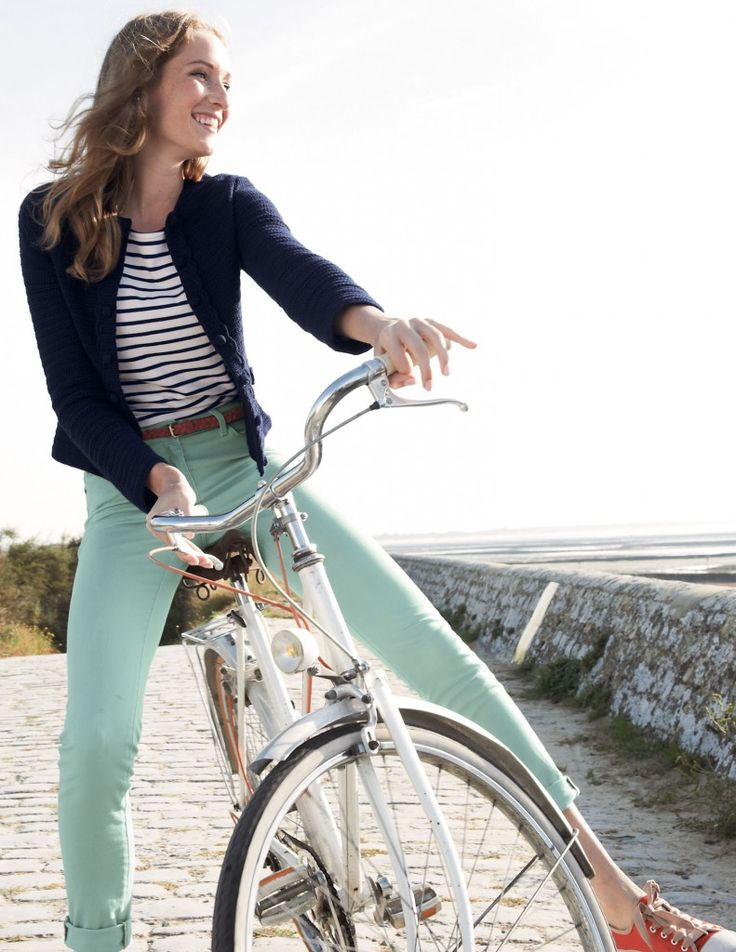 love everything about this spring outfit. Would swap the orange kicks for a red pair though. And I want a bike like this one!!