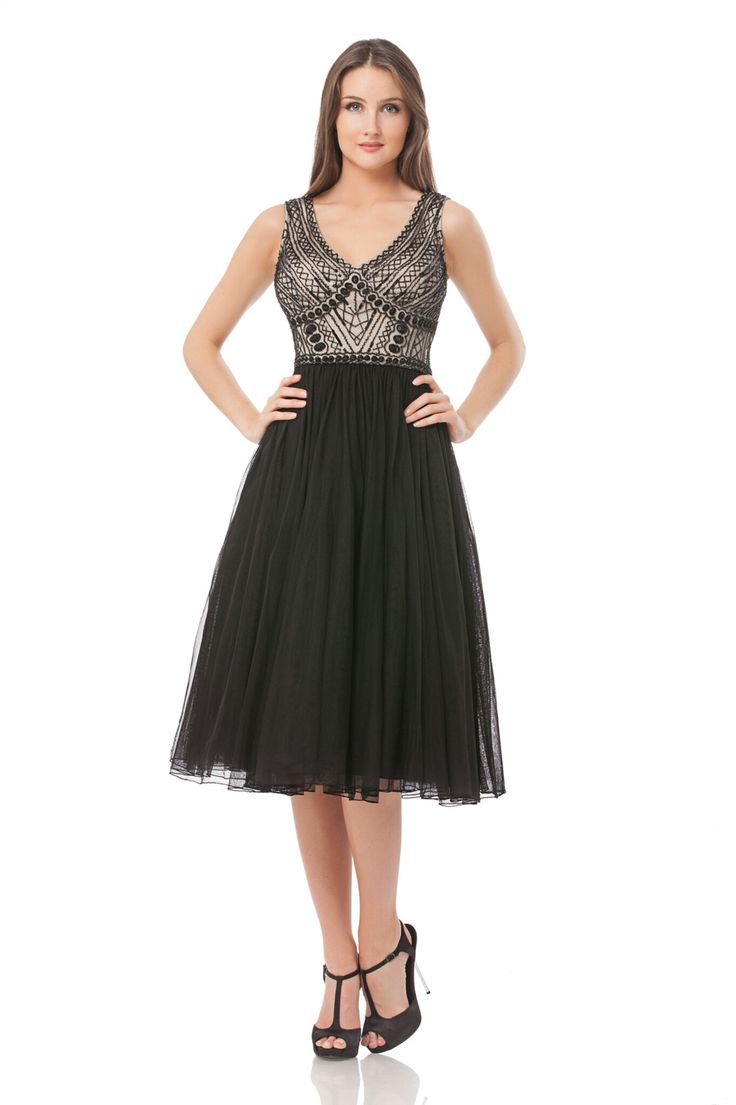 Beaded bodice with tulle skirt. JS Collections - mirellas.ca