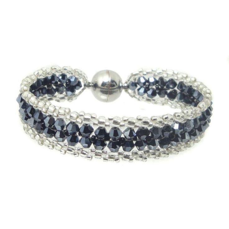 Armband - Kristall Glasschliff - Hämatit / Silber - Handarbeit