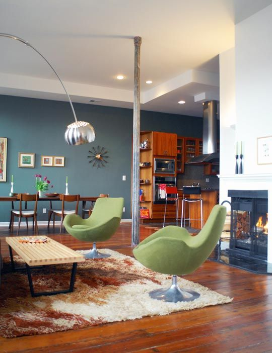 love the arc lamp and wall paint and chairs. and more.
