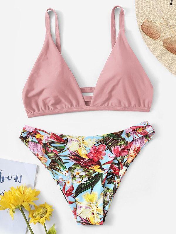 8ade2389886 Ruched Cut-out Back Top With Random Tropical Bikini | SHEIN | II ...