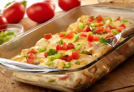 Flour tortillas are rolled around a delicious filling of chicken, creamy poblano soup, salsa and cheese and baked until hot and bubbling. Best of all, it takes just 45 minutes to have this southwestern favorite ready to serve.