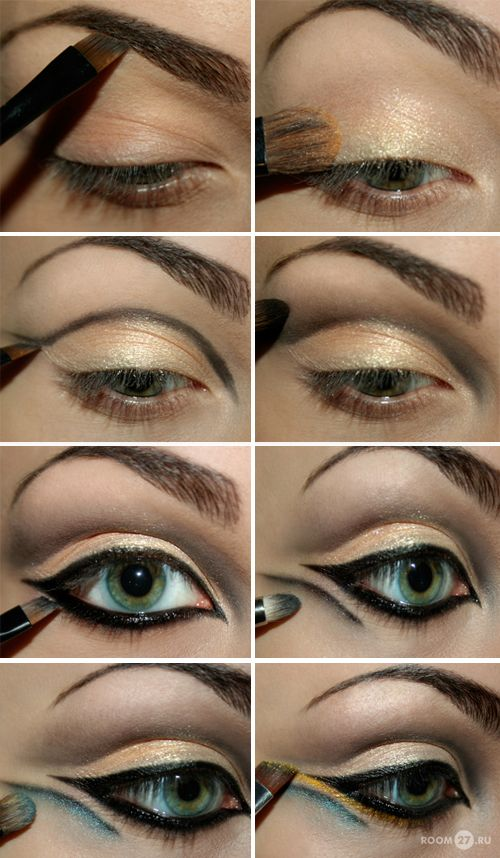 This kinda has a Hollywood look, like Cleopatra. The site is in Russian, but it has several nice picture tutorials like this one.