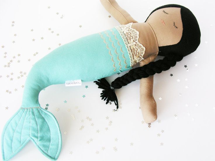 African American Mermaid Cloth Doll / Blue and Metallic Gold Tail Fin with Lace / Black Braid / Black Girl Fabric Doll / Sleeping Toy by TidwellHollowFriends on Etsy https://www.etsy.com/listing/487264858/african-american-mermaid-cloth-doll-blue