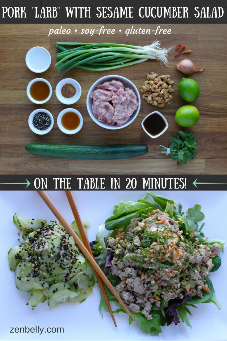 pork larb with sesame cucumber salad - #AIPadaptable with subs for sesame and no chili