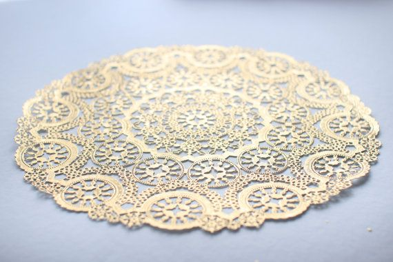 "100 Metallic Gold 12"" Round Medallion Doilies. Foil Lace Paper. Use for Placemats, Invitations, Bombonieres, Favors"