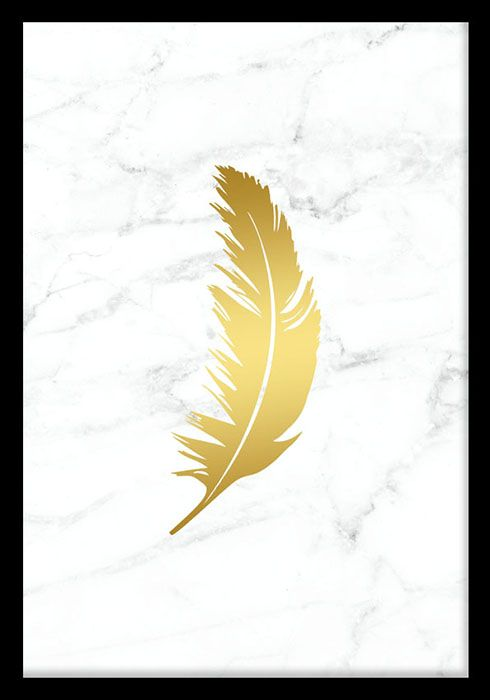 Feather Gold marble, poster i gruppen Posters och prints hos Desenio AB (7961)
