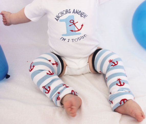 Nautical Baby First Birthday Outfit  Anchors Aweigh by GigglePoo, $33.00