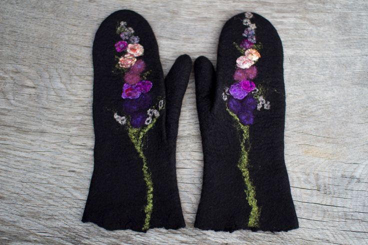 Black mittens with flowers purple felted mittens merino wool gloves women mittens arm warmes winter mittens Christmas gift - made to order by AureliaFeltStudio on Etsy