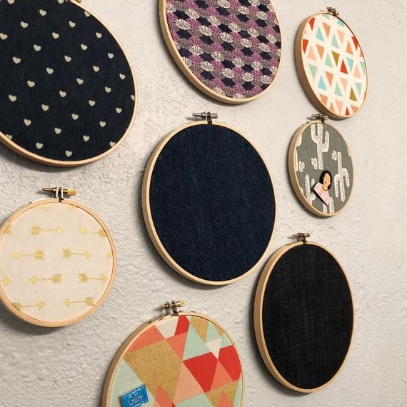 Enamel pin display holder - fabric embroidery hoop now w