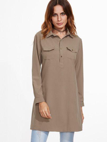 lange Bluse mit Taschen-khaki