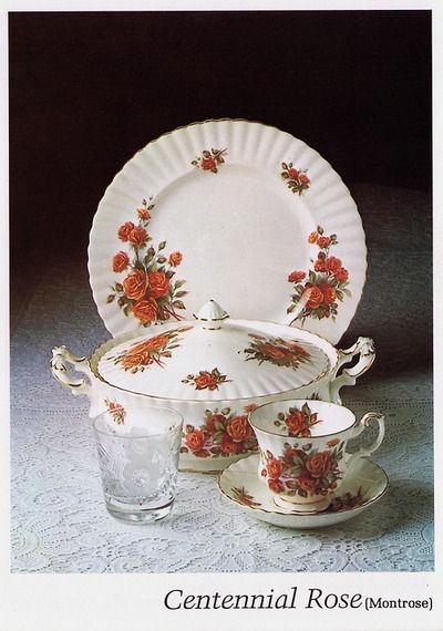 Centennial Rose – Official 1979 Catalog Photo Created especially for Canada's Centennial in 1967 the pattern was discontinued in 1981. Reddish pink roses bouquet on a bright white bone china with a thin gold trim.