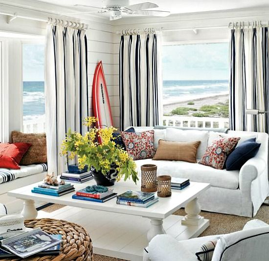 Golfer Greg Norman's Getaway: Hobe Sound, Florida.  Love the coffee table -- bet my husband could make this for me!