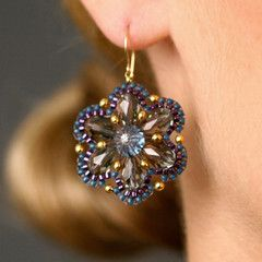 Designer Miguel Ases Crystal Dangle Earrings with Blue Seed Beads