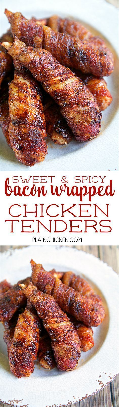 Sweet & Spicy Bacon Wrapped Chicken Tenders. Only 4 simple ingredients - chicken, bacon, brown sugar and chili powder. They only take about 5 minutes to make and are ready to eat in under 30 minutes. Sweet and sal
