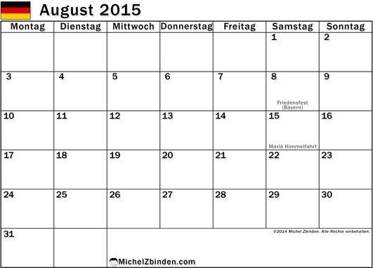 August 2015 Kalender Zeitplan
