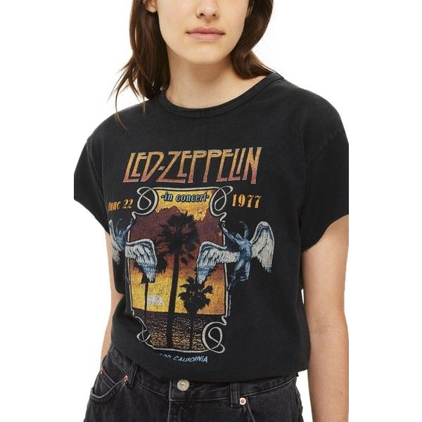 Women's Topshop By And Finally Led Zeppelin Tee (637.295 IDR) ❤ liked on Polyvore featuring tops, t-shirts, black, cotton jersey, boxy t shirt, topshop t shirts, faded t shirts and boxy top