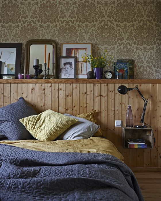Keep bedroom decor simple with layered bedding and your favourite objects and photos on a low shelf   #IKEAIDEAS
