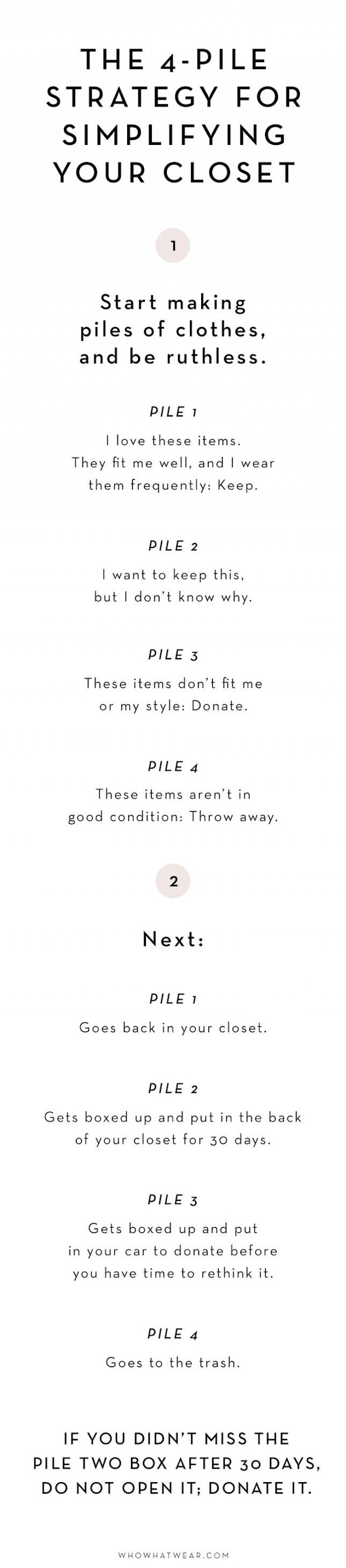 Bookmark this to learn all about the 4-pile strategy for simplifying your closet to achieve a more minimalist home.