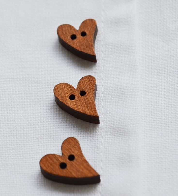 Set of 10 brown wooden heart shaped buttons by yourbuttonshop on Etsy