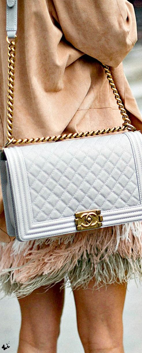"Chanel ""boy"" bag, street style at Paris Fashion Week"
