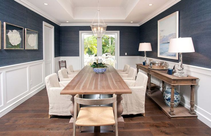 Coastal style blue and white dining room