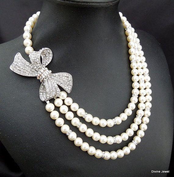 Pearl Necklace Bridal Rhinestone Necklace Crystal