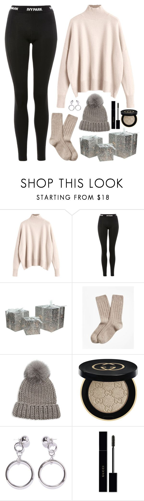 """""""Jeonghan X Wrapping Christmas Presents"""" by jleeoutfitters ❤ liked on Polyvore featuring Ivy Park, Northlight Homestore, Brooks Brothers, Eugenia Kim, Gucci and Ana Accessories"""