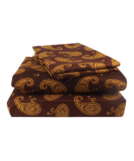 Gold & Burgundy Paisley Sheet Set
