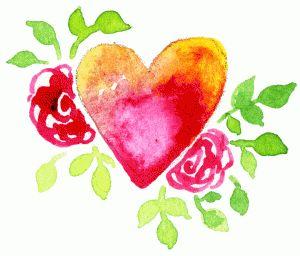 Silhouette Design Store - View Design #74647: watercolor floral heart