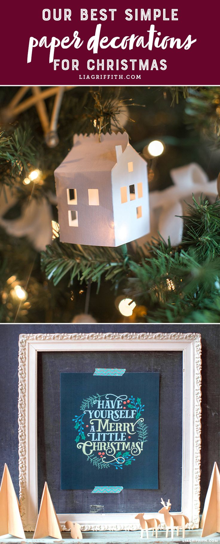 Our Best Simple Paper Decorations for Christmas - Lia Griffith - www.liagriffith.com #diychristmas #diyholiday #diyholidays #paper #paperart #papercraft #papercrafts #diyinspiration #madewithlia