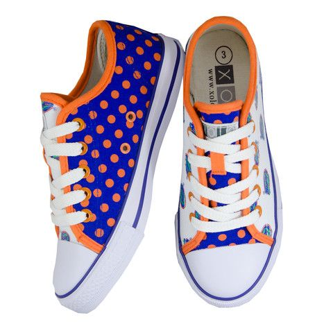 University of Florida Lace-Up Sneakers for Kids $30.00. These Florida Gators shoes from SCHOOLZ by XOLO feature mismatched but coordinating fabrics in Florida Gator blue and orange. Who says shoes have to match?  Rubber Sole, Canvas Upper, Unisex-For Boys and Girls, Officially Licensed Collegiate Product.