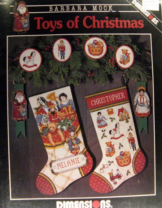 "christmas stocking cross stitch patterns | Counted thread cross stitch pattern leaflet ""Toys Of Christmas"""