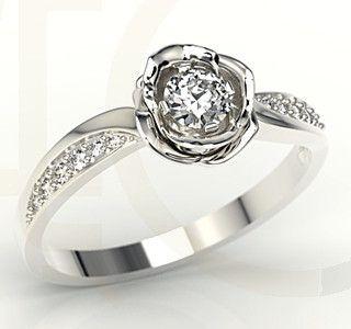 Pierścioneki w kształcie róży z białego złota z diamentami / Rose-shaped ring made from white gold with a diamonds / 3900 PLN #gold #jewelry #diamonds #ring #jewellery #biżuteria